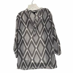 AGB half button down sheer long sleeve top small